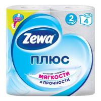 """Туалетная бумага """"ZEWA Plus"""" белая 2-слойная 4 шт"""
