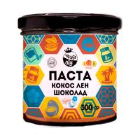 Арахисовая паста с шоколадом, кокоc и лен, 300 г