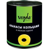 Ананасы кусочками Vegda в легком сиропе, 580 мл